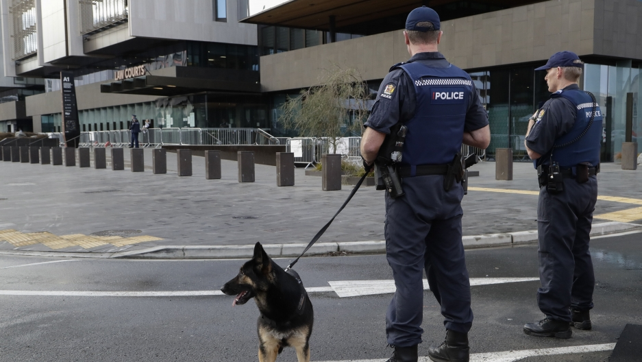 Armed police stand in front of a building with a police dog