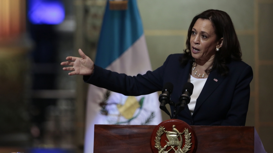 Vice President Kamala Harris speaks during a news conference at the National Palace in Guatemala City, Monday, June 7, 2021.