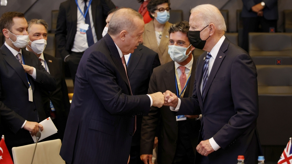 Biden and Erdoğan fist-bump at NATO meeting.