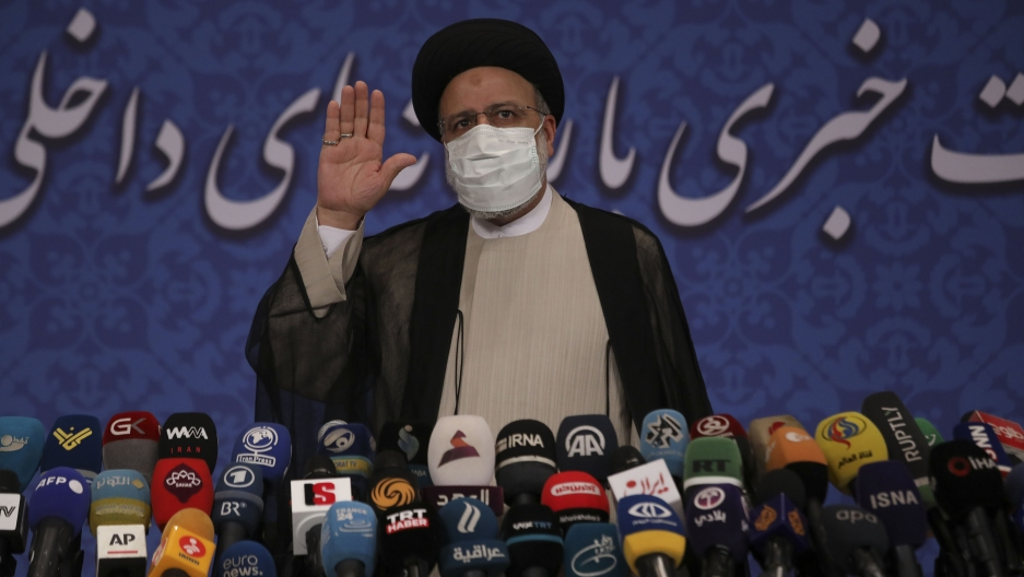 Iran's new President-elect Ebrahim Raisi speaks during a press conference