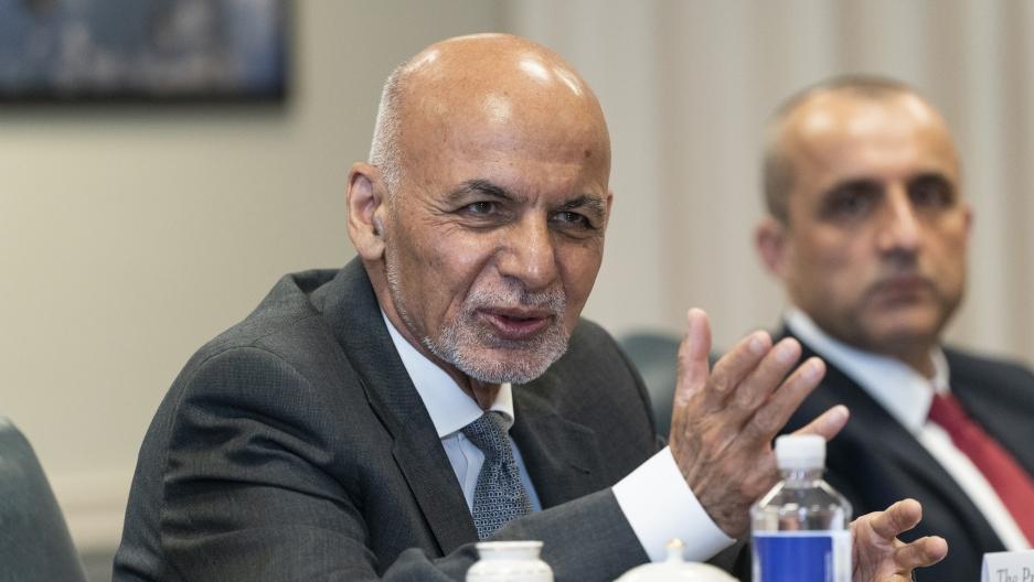 Afghan President Ashraf Ghani, left, speaks before a meeting with Secretary of Defense Lloyd Austin at the Pentagon in Washington, Friday, June 25, 2021.