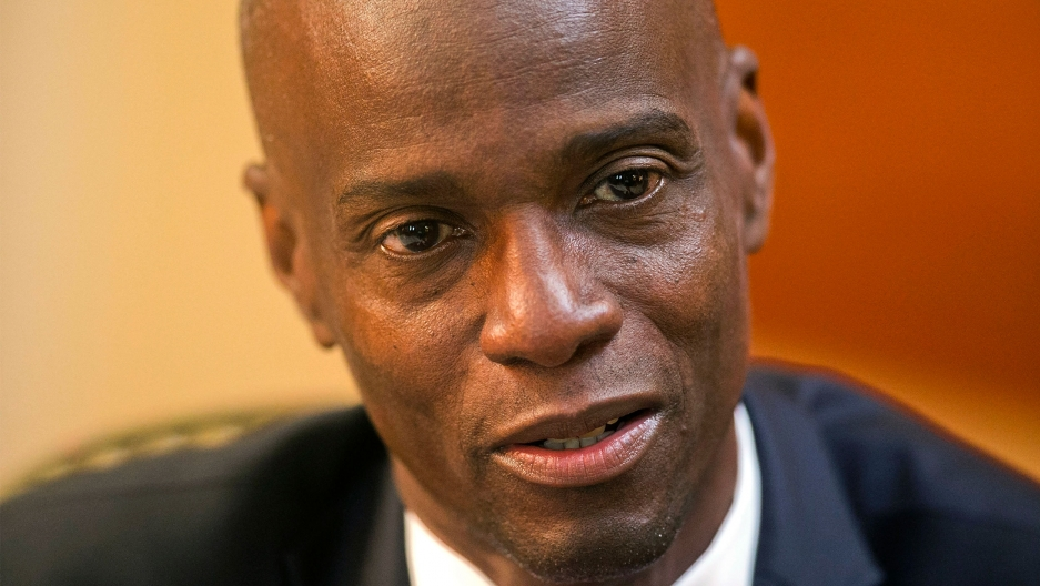 Haiti's President Jovenel Moise speaks during an interview at his home in Petion-Ville, a suburb of Port-au-Prince, Haiti