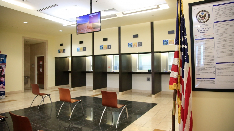 Chairs lined up inside US visa's center at Embassy of the United States of America is shown in Kabul, Afghanistan