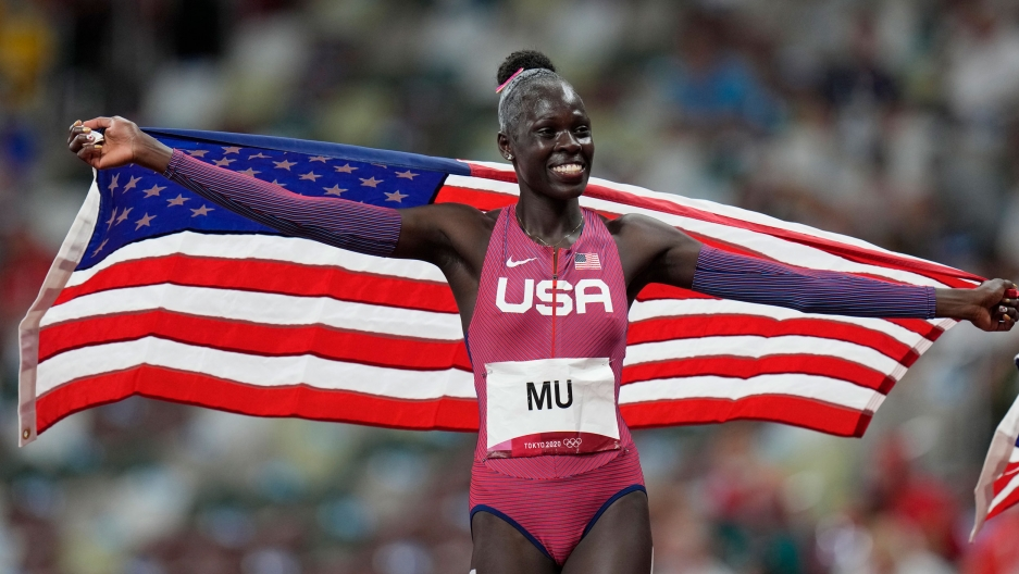 Athing Mu, of United States, reacts after winning the final of the women's 800-meters at the 2020 Summer Olympics, Tuesday, Aug. 3, 2021, in Tokyo.