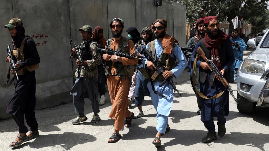 Taliban fighters patrol in Wazir Akbar Khan neighborhood in the city of Kabul, Afghanistan