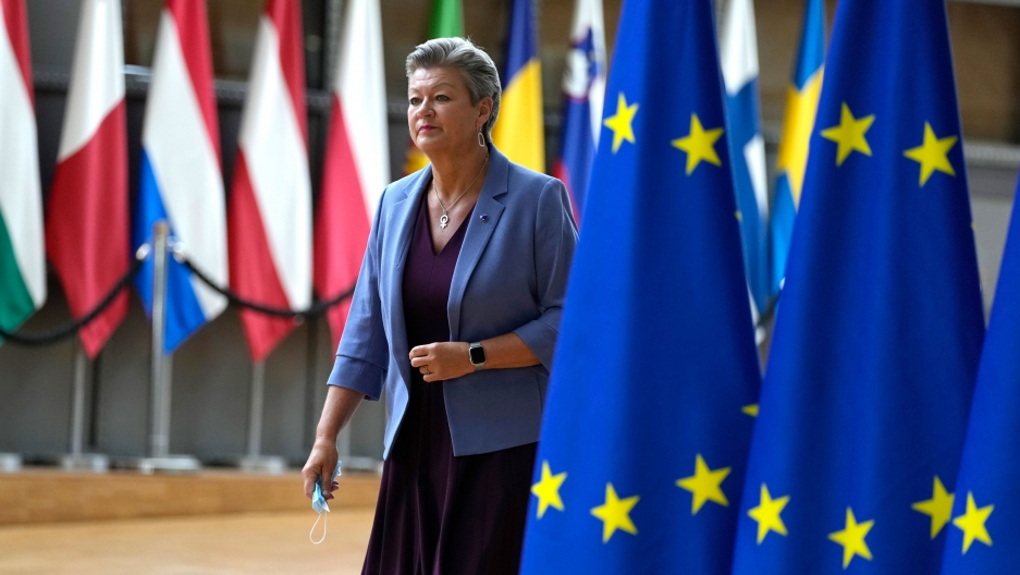 European Commissioner for Home Affairs Ylva Johansson arrives for a meeting of EU justice and interior ministers at the European Council building in Brussels, Tuesday, Aug. 31, 2021.