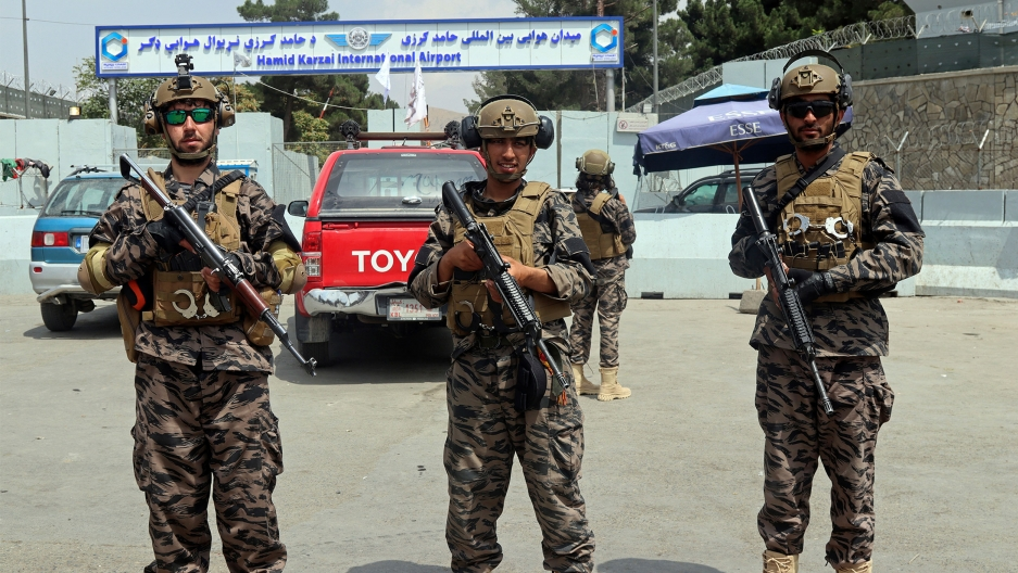 Taliban special forces fighters stand guard outside the Hamid Karzai International Airport after the U.S. military's withdrawal, in Kabul, Afghanistan