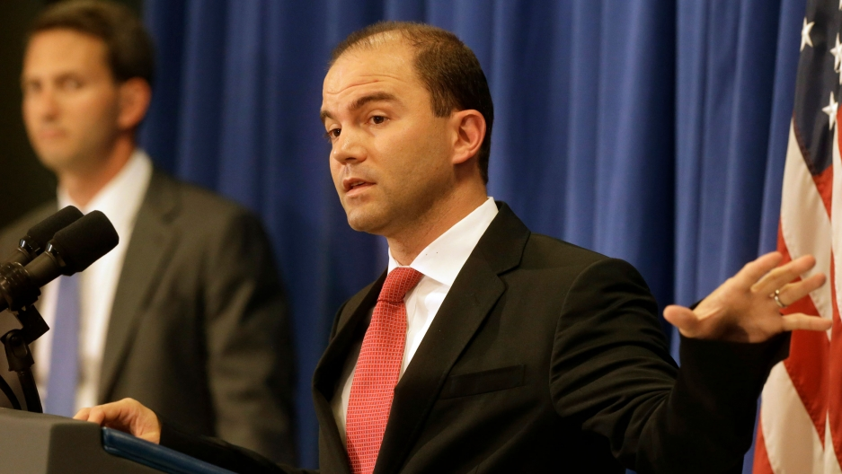 Deputy National Security Adviser for Strategic Communications and Speechwriting Ben Rhodes is accompanied by Deputy Press Secretary Eric Schultz at a press briefing at Martha's Vineyard