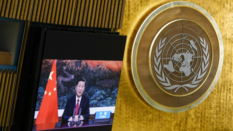 China's President Xi Jinping remotely addresses the 76th session of the United Nations General Assembly in a pre-recorded message, Tuesday Sept. 21, 2021, at UN headquarters.