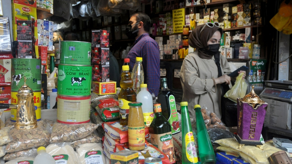 A Syrian grocery shop in Istanbul sells brands that are familiar to Syrian customers, such as canned meats and condensed milk.