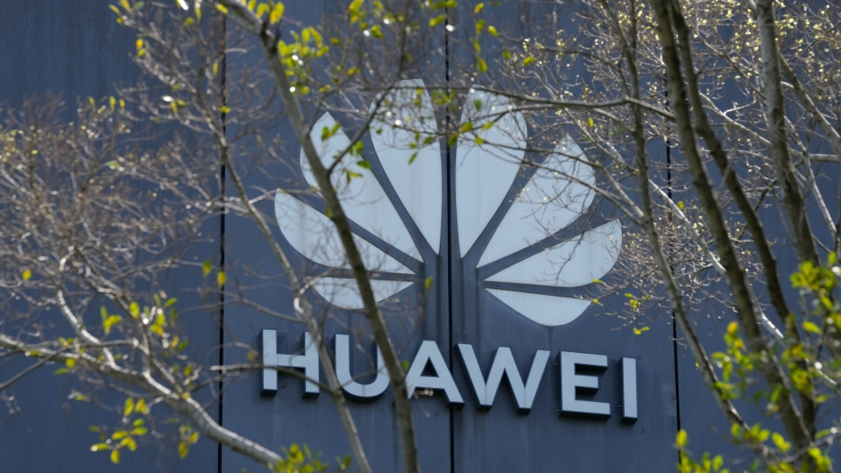 The Huawei brand logo is seen on a building in the sprawling Huawei headquarters campus in Shenzhen, China, Saturday, Sept. 25, 2021.
