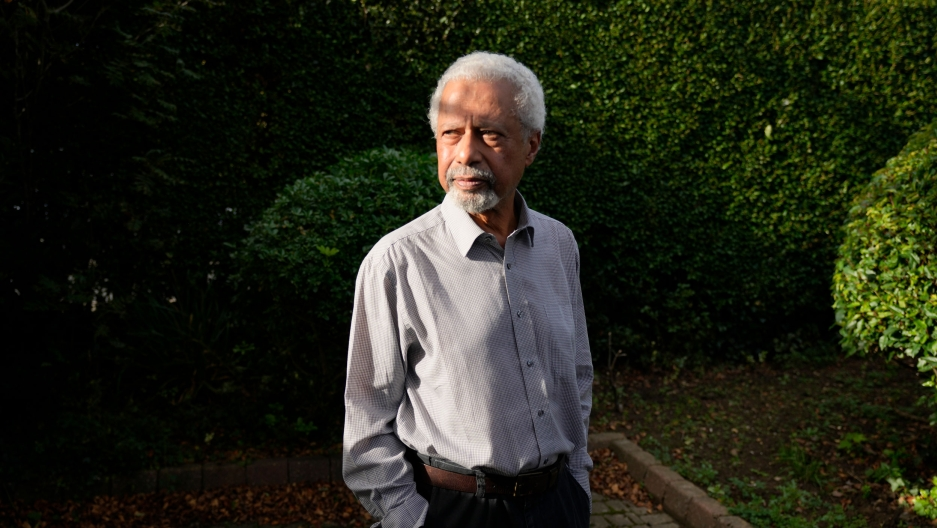 Zanzibar-born, British-based novelist Abdulrazak Gurnah poses for a photo at his home in Canterbury, England, Thursday, Oct. 7, 2021.
