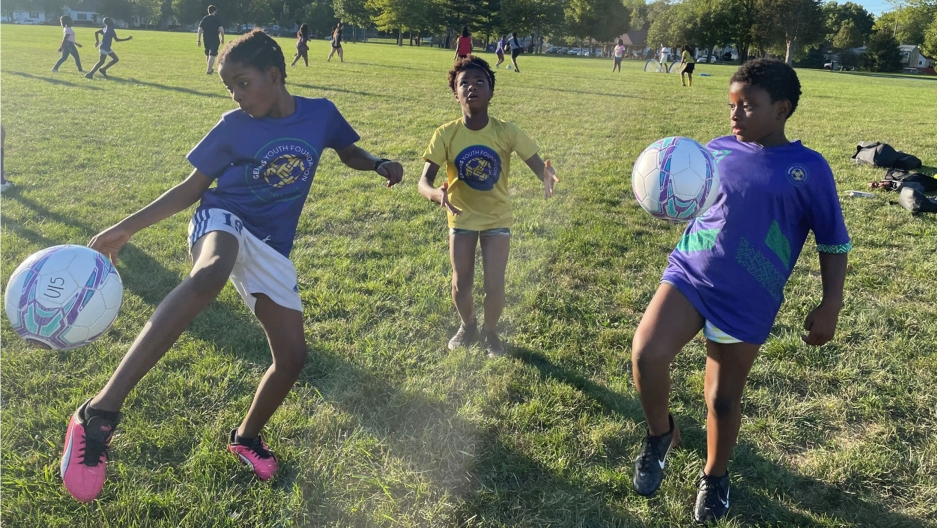 Girls on the Genesis Youth Foundation soccer team show off their skills with the ball at their practice in Des Moines.