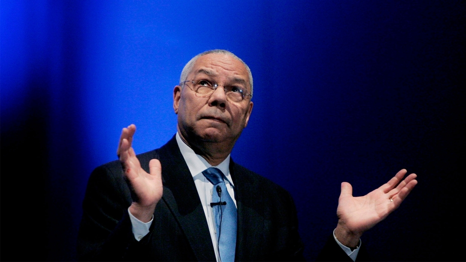 Former Secretary of State Colin Powell gestures during a lecture about business management and leadership in Madrid, Spain