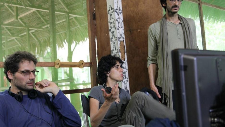 Co-directors Matteo Norzi and Leonor Caraballo, with producer Abou Farman