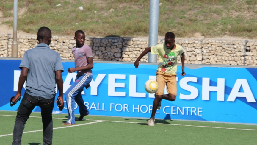 Dozens of Cape Town high schools closed yesterday. These students spent their afternoon playing soccer at the Football for Hope Center in Khayetlisha.