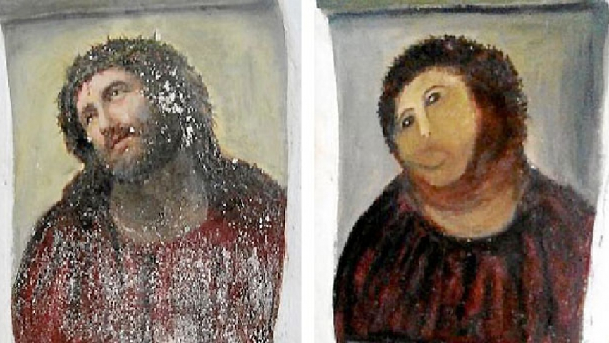 Amateur restoration botches jesus painting in spain public radio jesuspaintingnew293150090eg solutioingenieria Image collections