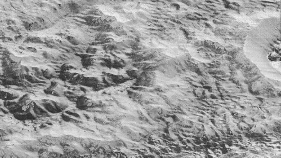 This highest-resolution image from NASA's New Horizons spacecraft shows how erosion and faulting has sculpted this portion of Pluto's icy crust into rugged badlands. Image by NASA/JHUAPL/SwRI