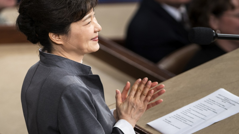 President Of South Korea Park Geun Hye Claps While Addressing A Joint Meeting Of Congress On Capitol Hill May 8 2013 In Washington Dc