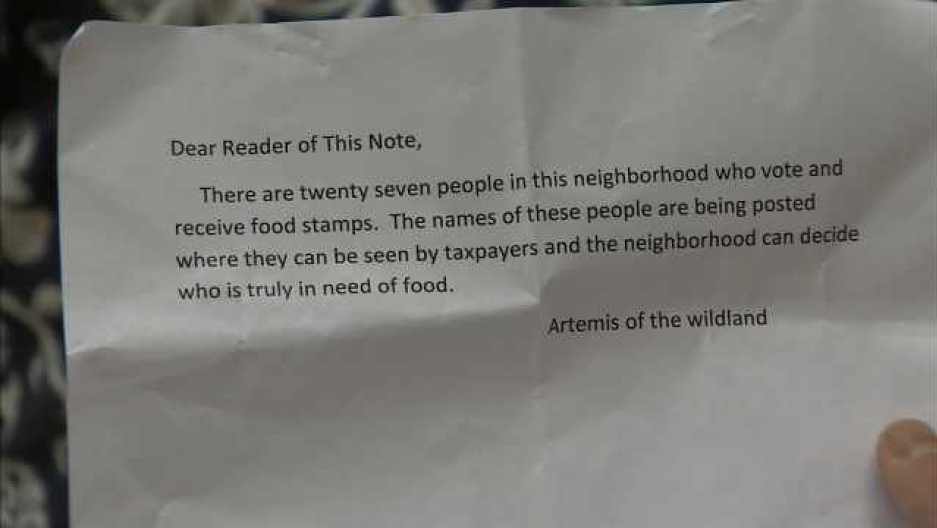 Mystery Letters Have Been Showing Up Around Portland Ore Threatening To Name Residents Receiving Food Stamps And Disability Payments