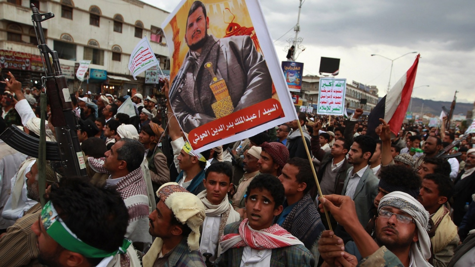 Huthi militia supporters rally in Sanaa on March 26, 2015.