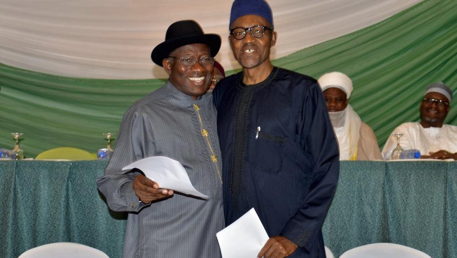 Nigeria's Goodluck Jonathan and Muhammadu Buhari