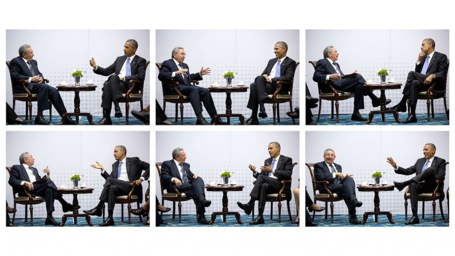 Barack Obama sits with Raul Castro