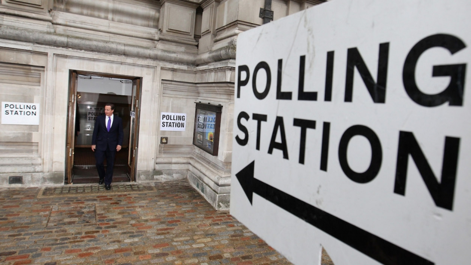 David Cameron walks out of UK polling station