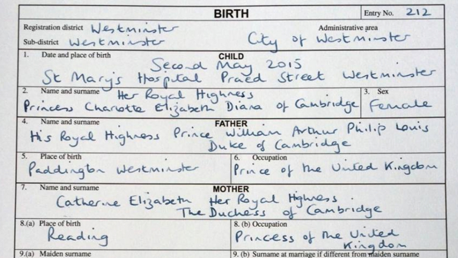 Princess Charlottes Birth Certificate Proves Royals Do Paperwork