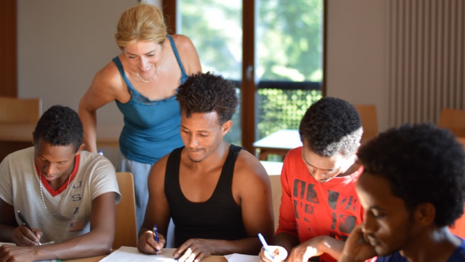 Eritreans in class in Freyung, Bavaria