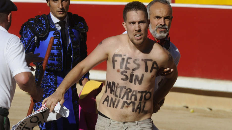 A man is detained after jumping into the bullring with the sentence 'Fiesta without animal abuse' written on his body during the seventh corrida of the San Fermin Festival in Pamplona, on July 13, 2015.
