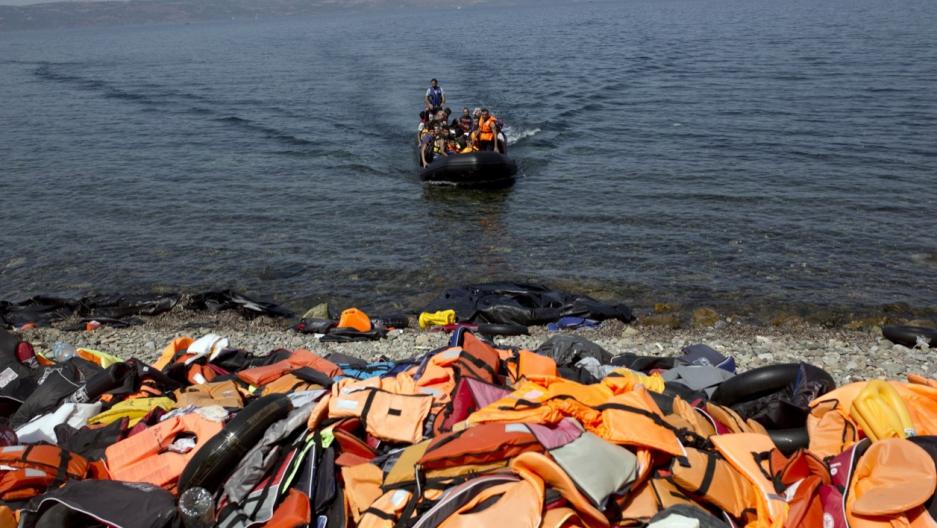 Refugees reach Lesbos, Greece