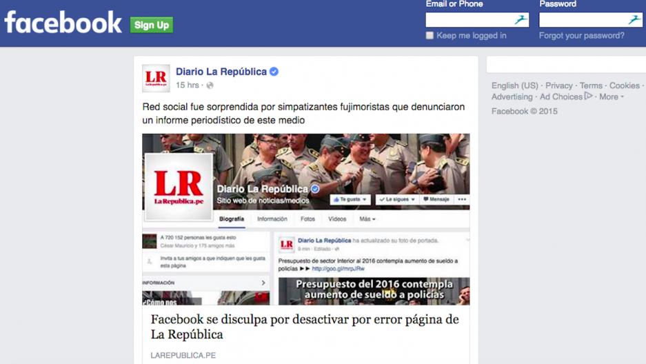 Facebook page of Peru's La Republica newspaper