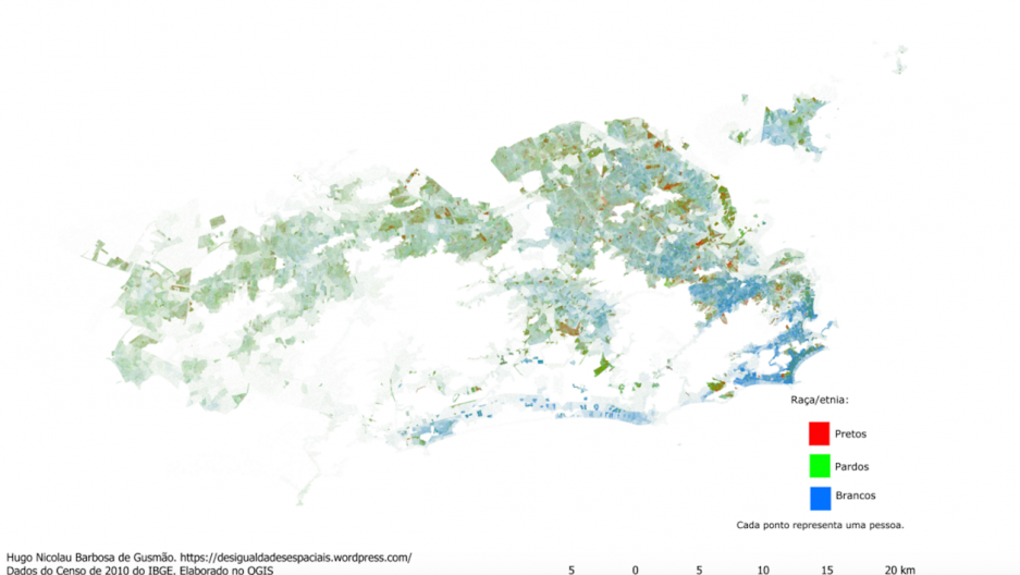 Racial map of Rio, Brazil