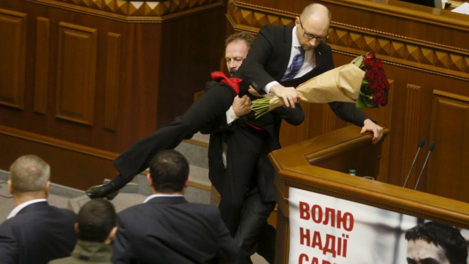 Ukraine parliament fight