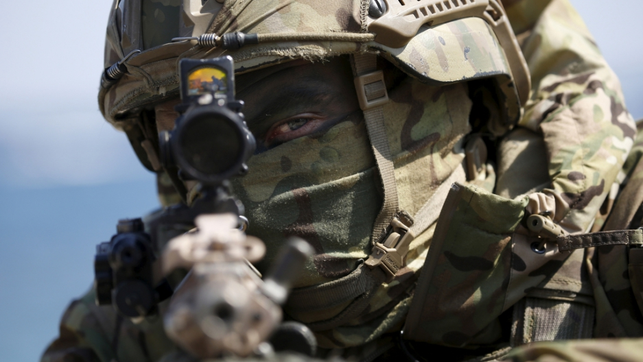 A US Marine takes part in a US-South Korea joint landing operation drill in Pohang, South Korea, on March 12, 2016.