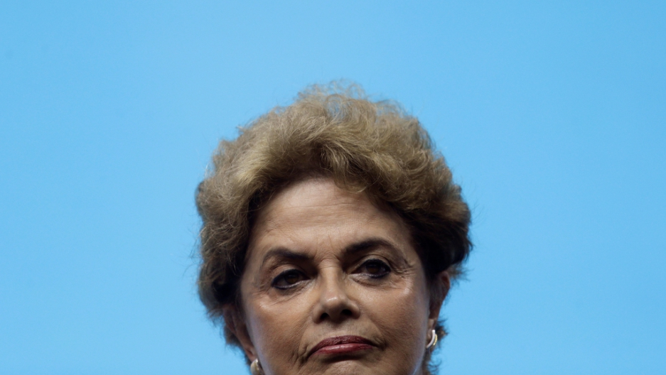 Brazil's President Dilma Rousseff attends the inauguration ceremony of the Olympic aquatic venue at the 2016 Rio Olympics park in Rio de Janeiro on April 8, 2016.
