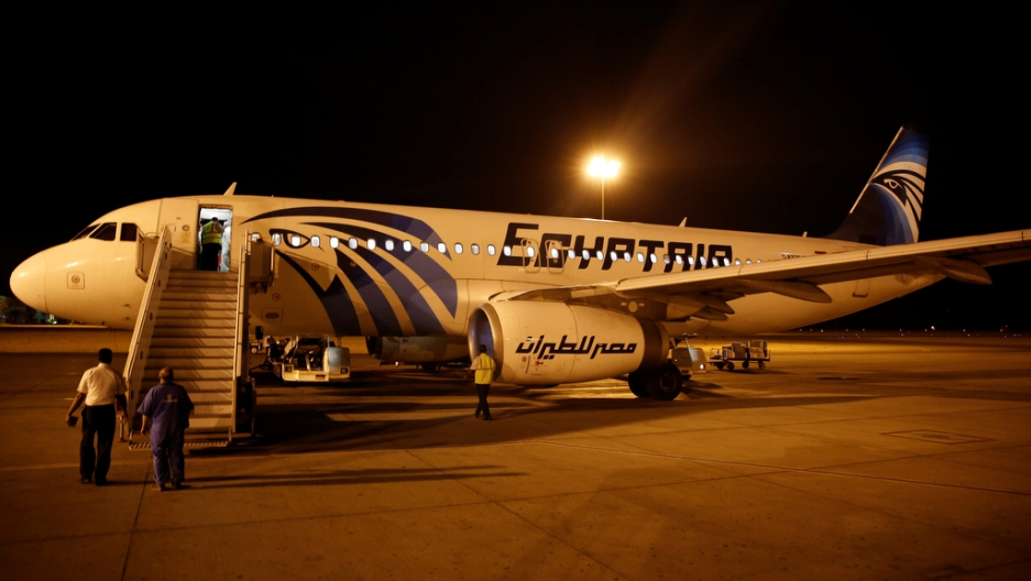 Airport security check an EgyptAir plane after it arrived from Cairo to Luxor International Airport, Egypt, on May 19, 2016.