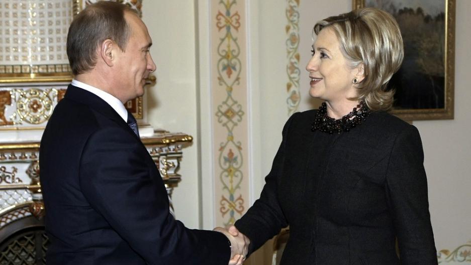 Russian Prime Minister Vladimir Putin meets U. Secretary of State Hillary Clinton.