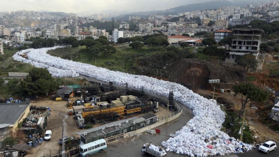 Packed garbage bags in Jdeideh, Beirut, Lebanon on Feb. 23.