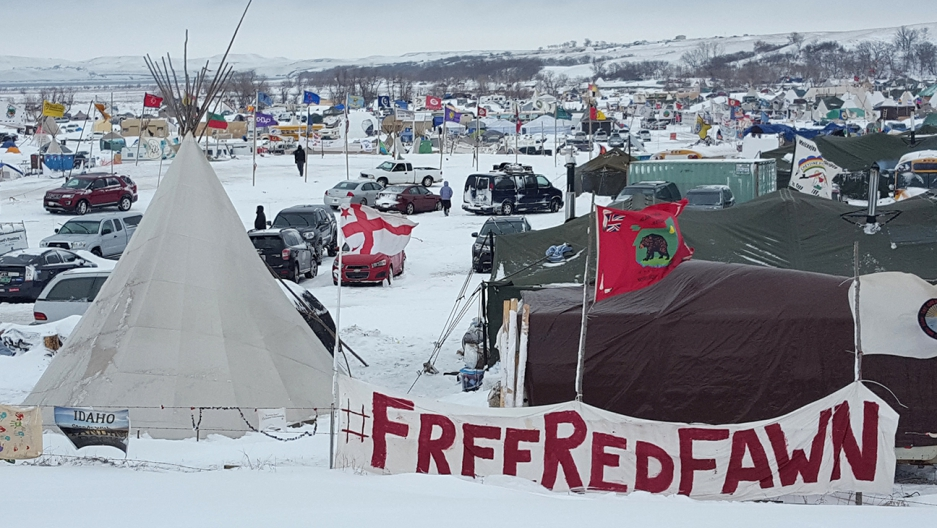 Standing Rock Camp and the surrounding area was pummelled by a massive blizzard on Monday.