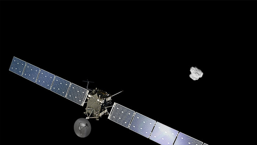 An artist's impression of ESA's Rosetta approaching comet 67P/Churyumov-Gerasimenko. The comet image was taken on August 2, 2014, by the spacecraft's navigation camera at a distance of about 500 km. The spacecraft and comet are not to scale.