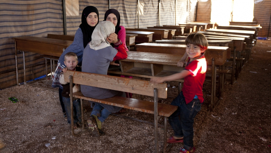 Tent used as school for Syrian refugees