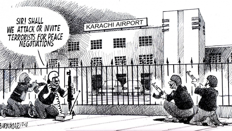 After the June 2014 attacks on the Karachi airport, Sabir Nazar resubmits the cartoon, replacing the hospital with the Karachi airport. The cartoon was accepted.