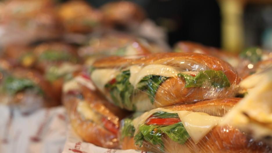 Sandwiches on potato starch buns.