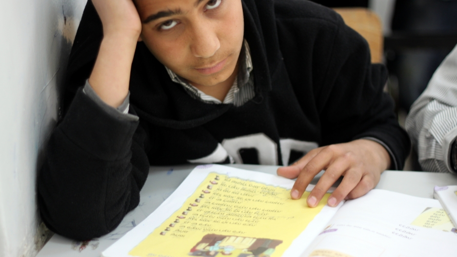 A ninth grade student in Mansour's Hebrew class.