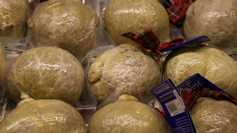 This would be illegal in America. Traditional haggis on sale in Scotland.