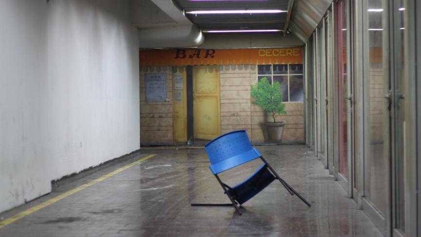 What happened in this abandoned corner of the bus station is anyone's guess.