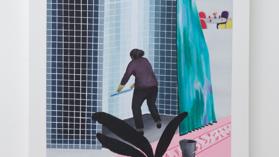 """Gomez's """"Woman Cleaning Shower in Beverly Hills"""" is based on David Hockney's 1964 painting """"Man Taking Shower in Beverly Hills."""""""