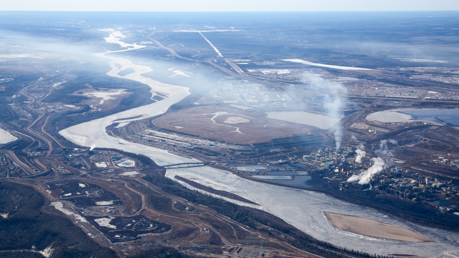 Suncor Oil Sands Project on the banks of the Athabasca River.